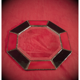 8 Inch Eight-Sided Mirror Featuring a 1 Inch Red and Black Border