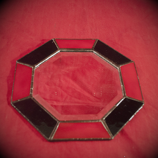 Hex 8 Inch Eight-Sided Mirror Featuring a 1 Inch Red and Black Border