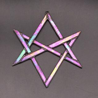 Unicursal Hexagram Suncatcher in Opalescent