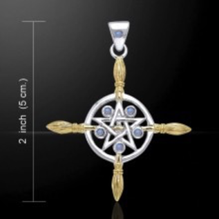 Hex Broomstick Cross with Pentacle