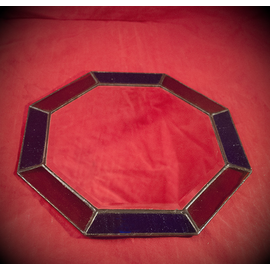 8 Inch Eight-Sided Mirror Featuring a 1 Inch Gold and Blue Border