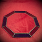 Hex 8 Inch Eight-Sided Mirror Featuring a 1 Inch Gold and Blue Border
