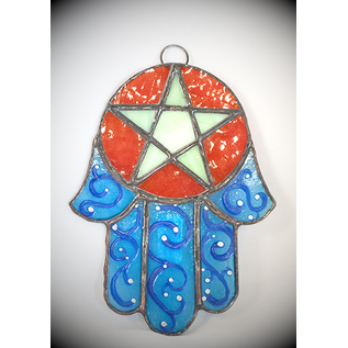 Stained Glass Hamsa Pentacle in Blue and Green Glass