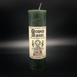 Dark Candles Hex Pillar Candle - Money Magic