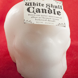 Hex Skull Candle White