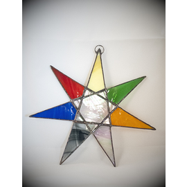 Stained Glass Sacred Septagram in Planetary Colored Glass