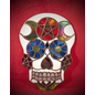 Stained Glass Sugar Skull with Pentacle and Moons