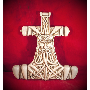 Thor Hammer Wall Plaque in Bone Finish by Maxine Miller