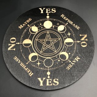 Voron Wood Pentacle with Moon Phases 6 inch in Black