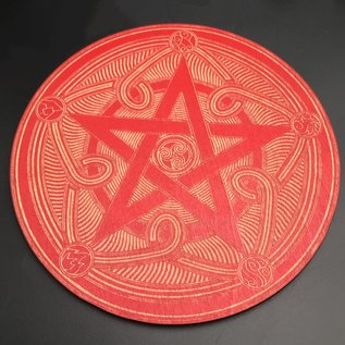 Pentacle Altar Tile - 6 inch in Red