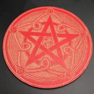 Voron Wood Pentacle Altar Tile 6 inch in Red