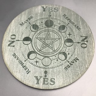 Pentacle with Moon Phases Pendulum Board - 6 inch in Ebony