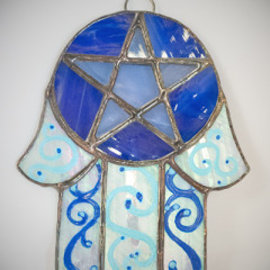 Stained Glass Hamsa Pentacle in Blue and Opalescent Glass
