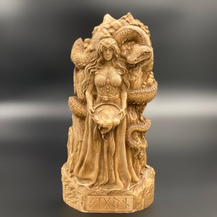 Ash Wooden Sigyn Statue - 8 inches Tall