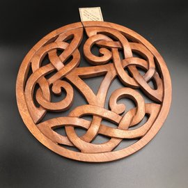Celtic Knot Triquetra with Circle Wall Hanging in Mahogany
