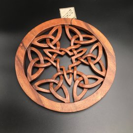 Six Triquetras in a Circle Wall Hanging in Mahogany