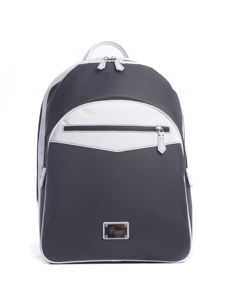 Carbon Fiber Backpack, White Leather