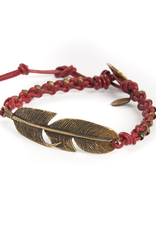 Woven Red leather with stamped brass beads and brass feather bracelet
