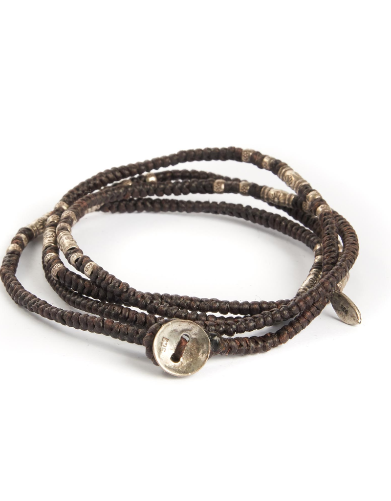Knotted Brown multi wrap with silver beads bracelet