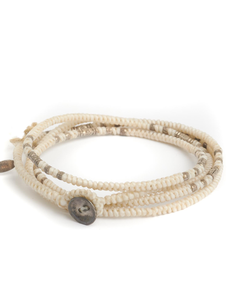 Knotted White multi wrap with silver beads bracelet