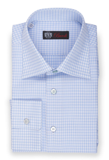 100% Cotton Powder Blue and White Tattersall Shirt