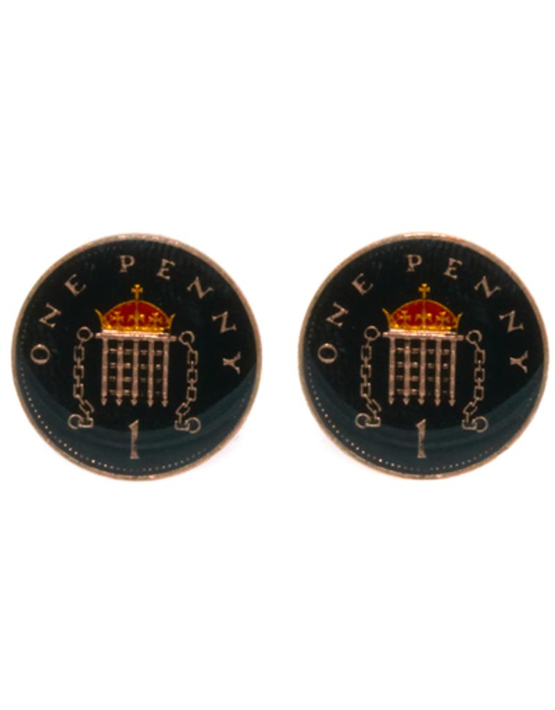 Hand Enameled Coin Cufflinks - England 1 penny