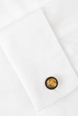 Rhodium Cufflinks Gold Leaf