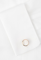Round Guilloche White MOP Cufflinks, Rose Gold Plated Stainless