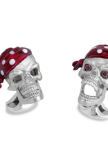 Sterling Silver Skull Cufflinks with enameled Bandana and Ruby Functional Eyes