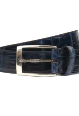 Cayman Yacare Crocodile Belt with snake buckle, Blue