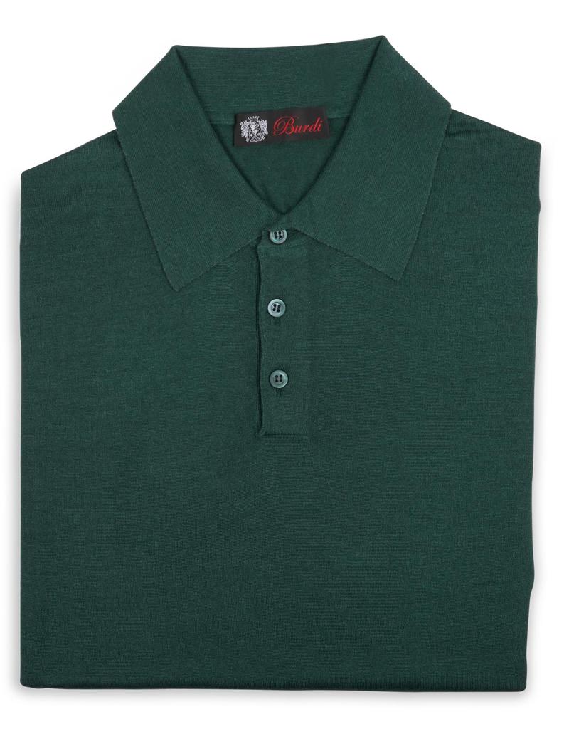 Cashmere / Silk Polo Sweater, Emerald
