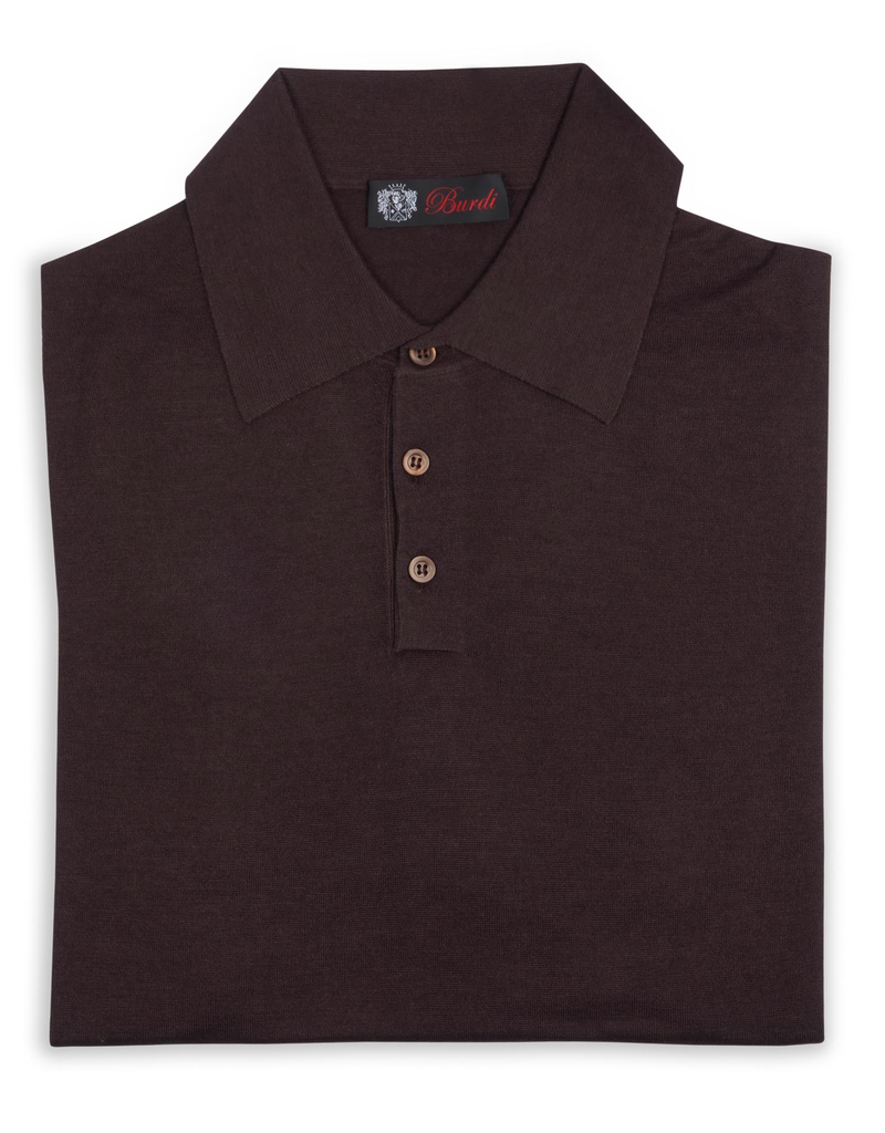 Cashmere and Silk Polo Sweater, Brown