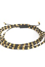 BLACKENED BEADS AND BRASS MULTI PULL CORD