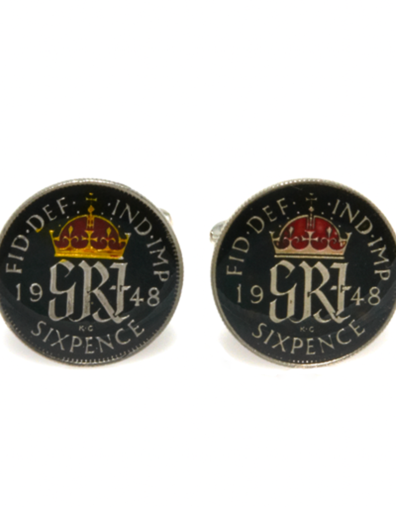 Hand Enameled Coin Cufflinks - England-black