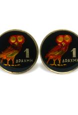 Hand Enameled Coin Cufflinks - Greece