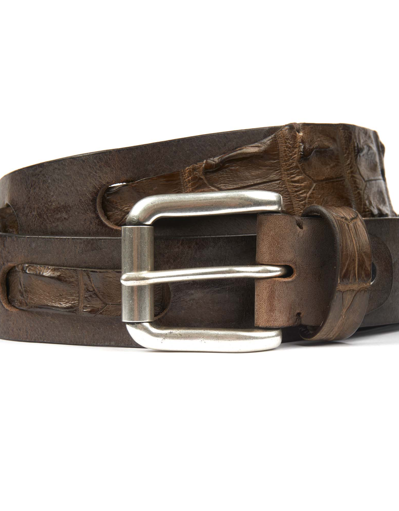 Leather belt with interwoven Crocodile Brown