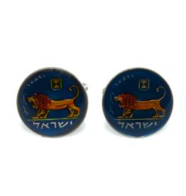 Hand Enameled Coin Cufflinks - Israel