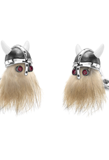 Sterling Silver Bearded Viking Cufflinks, Enameled w/Ruby eyes