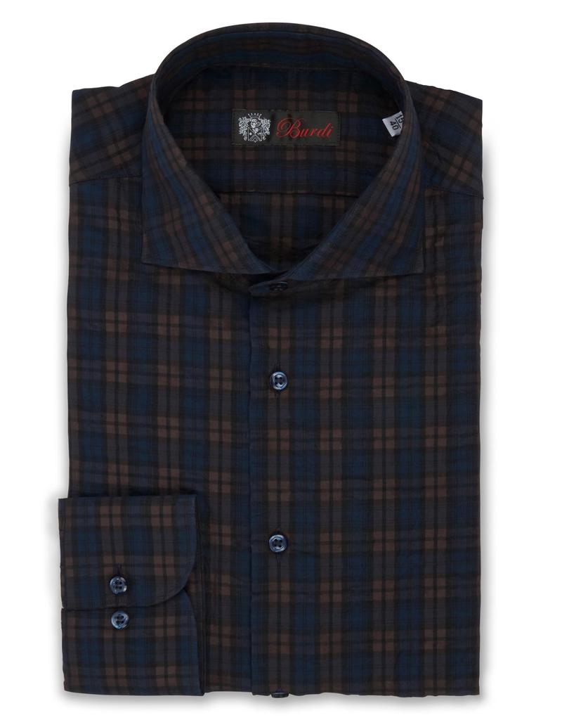 100%CO Crinkled Plaid Shirt