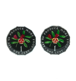 Hand Enameled Coin Cufflinks - Jamaica