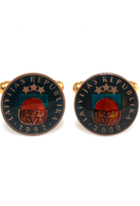 Hand Enameled Coin Cufflinks - Latvia