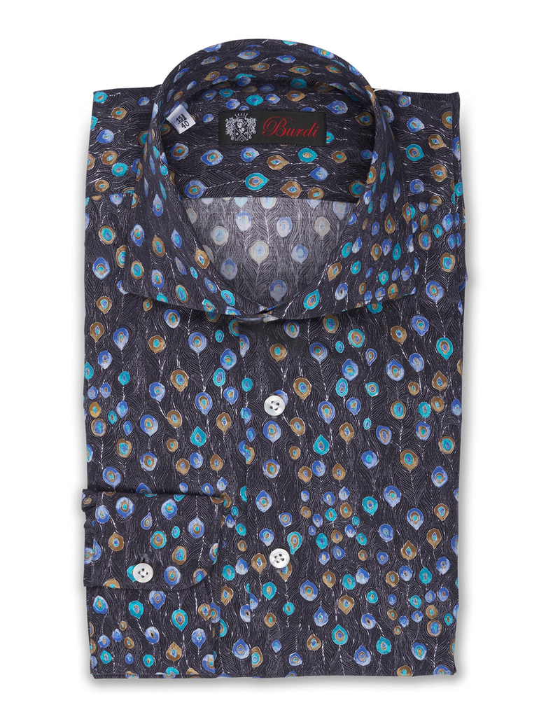 100%CO Printed Cotton Shirt, Handmade BH - Peacock