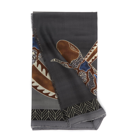 Cashmere Featherweight Scarf Intertwined Snake - Gray & Brown
