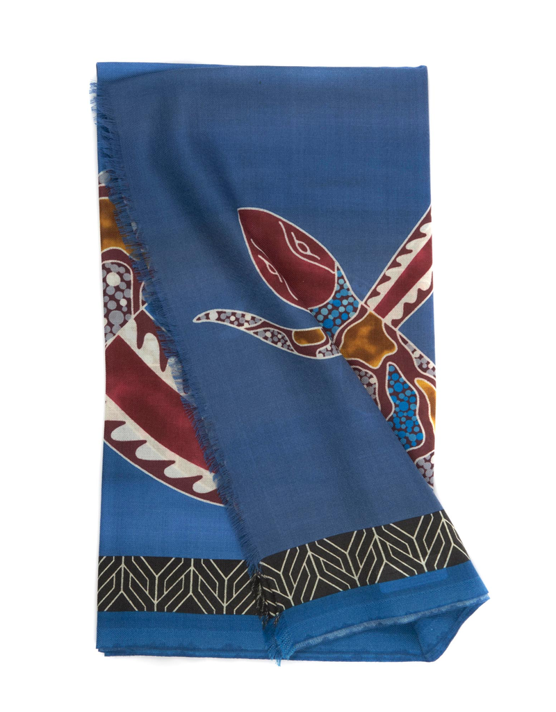 100%WS Featherweight Scarf Intertwined Snake - Blue & Wine