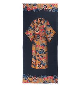 Cashmere Featherweight Scarf Kimono - Navy & Gold