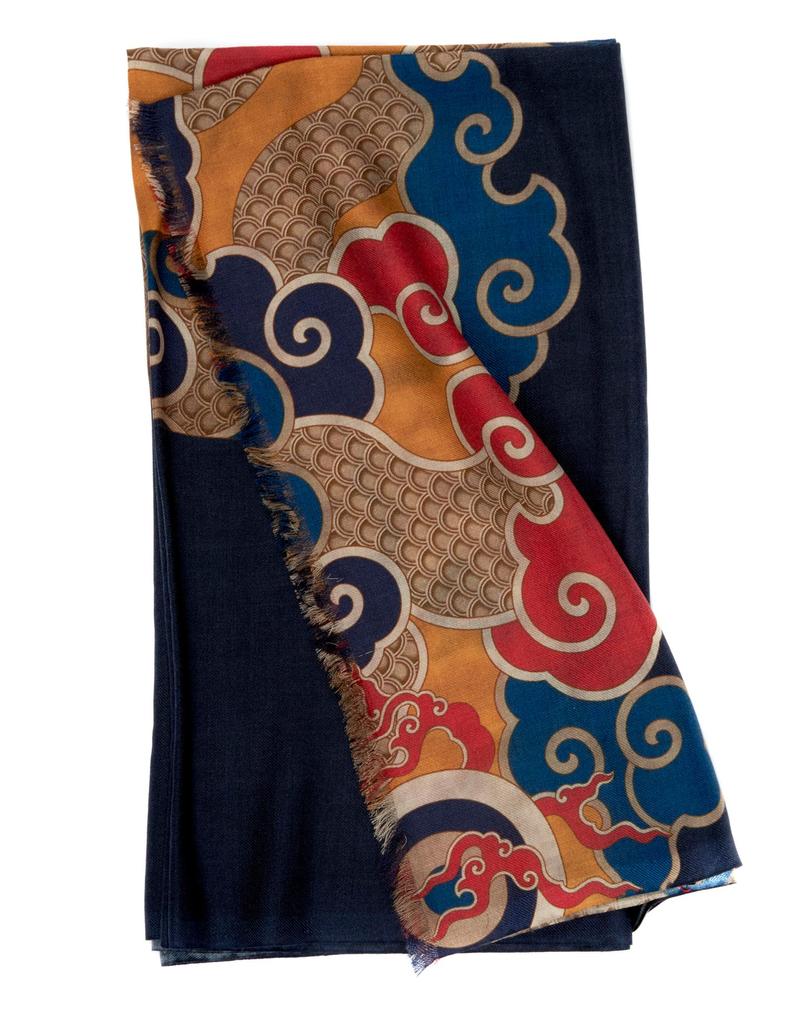 100%WS Featherweight Scarf Kimono - Navy & Gold