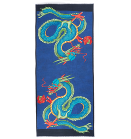 Cashmere Featherweight Scarf Double Dragon - Blue & Green