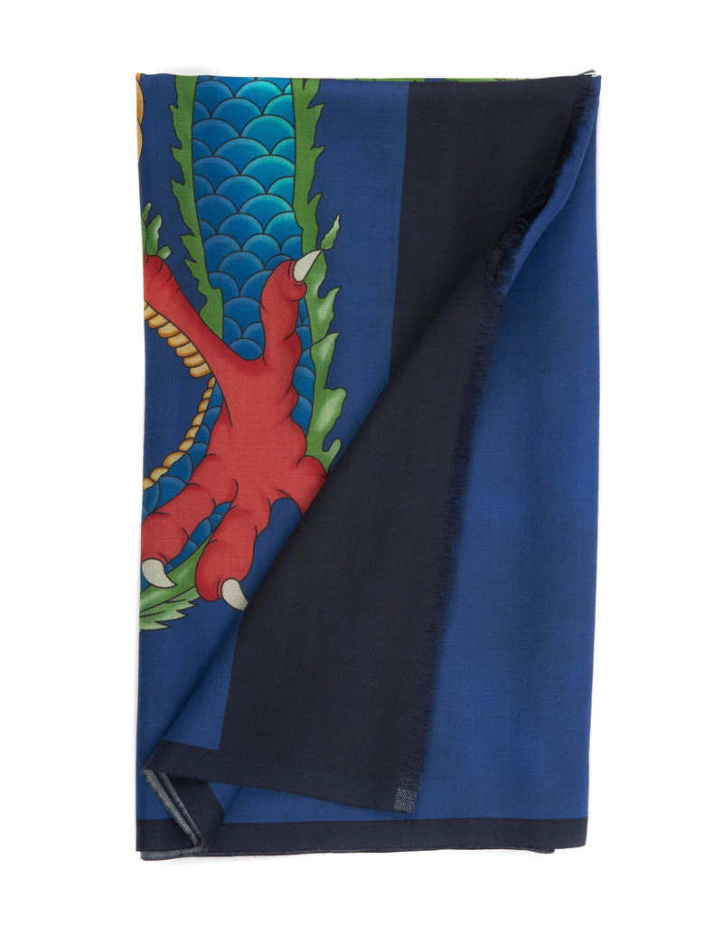 100%WS Featherweight Scarf Double Dragon - Blue & Green