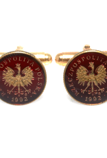 Hand Enameled Coin Cufflinks - Poland