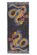 100%WS Featherweight Scarf Double Dragon - Charcoal & Gold
